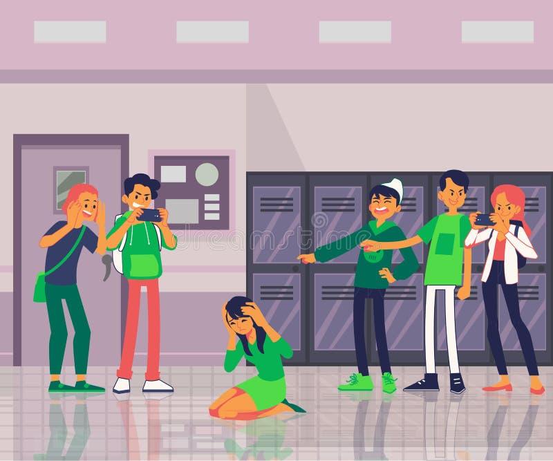 Gli anni dell'adolescenza o gli scolari offendono un'illustrazione piana di vettore del compagno di classe isolata su bianco illustrazione vettoriale