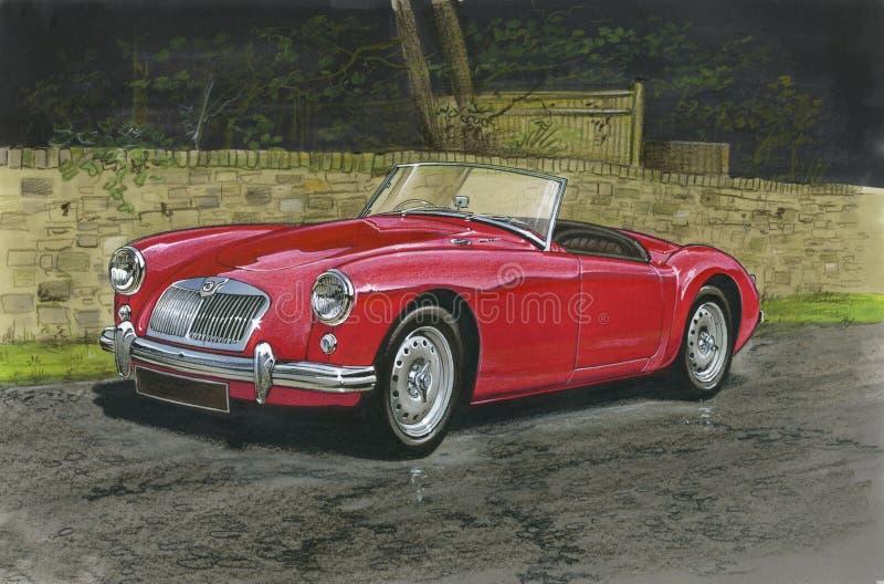 Gli anni 60 dell'automobile scoperta a due posti di MGA illustrazione vettoriale