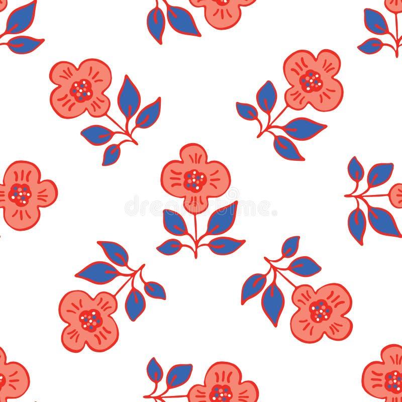 gli anni 50 disegnano retro Daisy Flower Seamless Vector Pattern Estate disegnata a mano floreale piega royalty illustrazione gratis