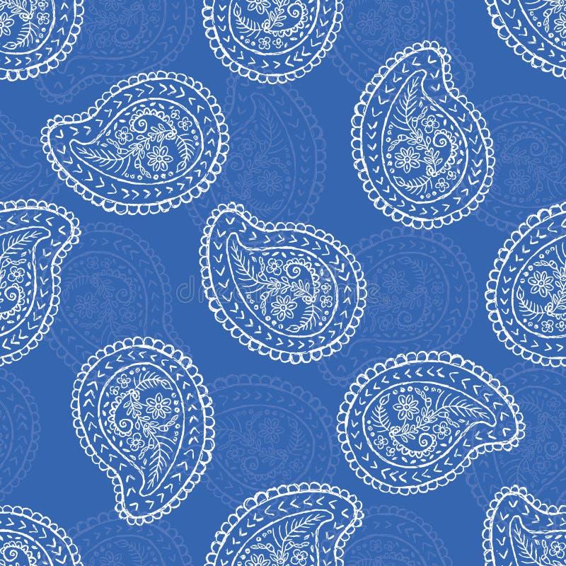 gli anni 50 disegnano retro Daisy Paisley Seamless Vector Pattern Motivo etnico piega del pizzo del fiore illustrazione vettoriale