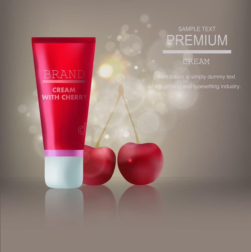 Gli annunci in bianco realistici premio della crema del modello, bottiglia crema traslucida con gli ingredienti della ciliegia su royalty illustrazione gratis