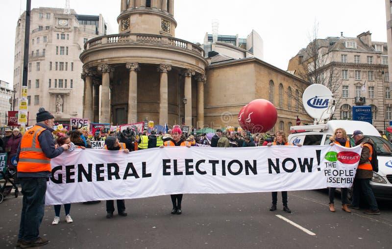 Gli anti dimostranti di governo alla Gran-Bretagna ora è rotto elezione generale/dimostrazione a Londra immagine stock libera da diritti