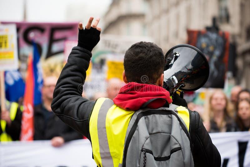 Gli anti dimostranti di governo alla Gran-Bretagna ora è rotto elezione generale/dimostrazione a Londra immagini stock libere da diritti