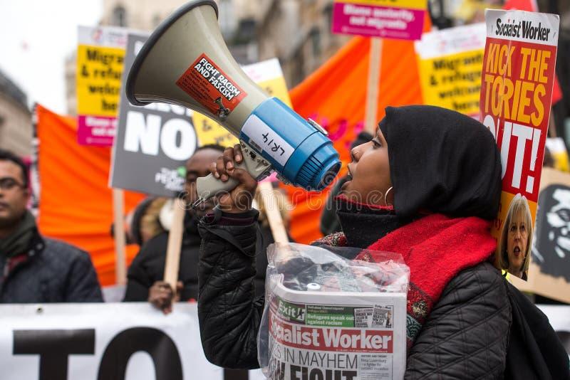 Gli anti dimostranti di governo alla Gran-Bretagna ora è rotto elezione generale/dimostrazione a Londra immagine stock