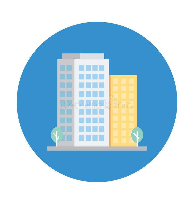 Gli appartamenti colorano l'icona isolata di vettore che può modificare o pubblicare facilmente royalty illustrazione gratis