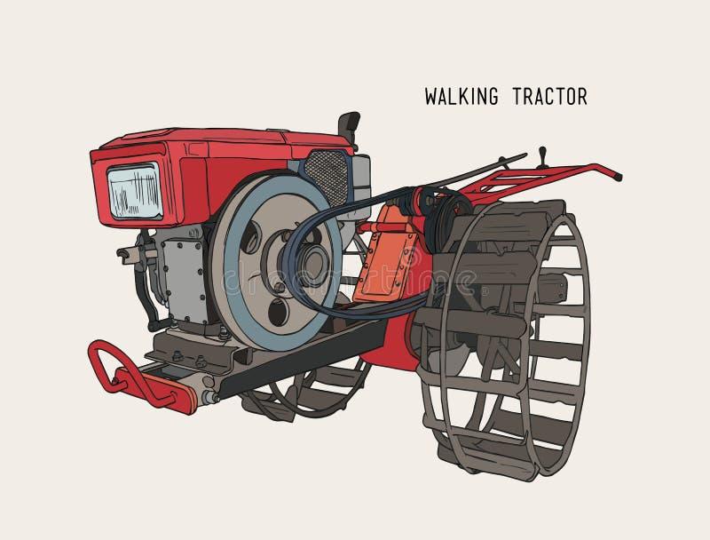 Gli aratri lavorano - il trattore condotto a piedi a macchina, vettore di schizzo di tiraggio della mano illustrazione di stock