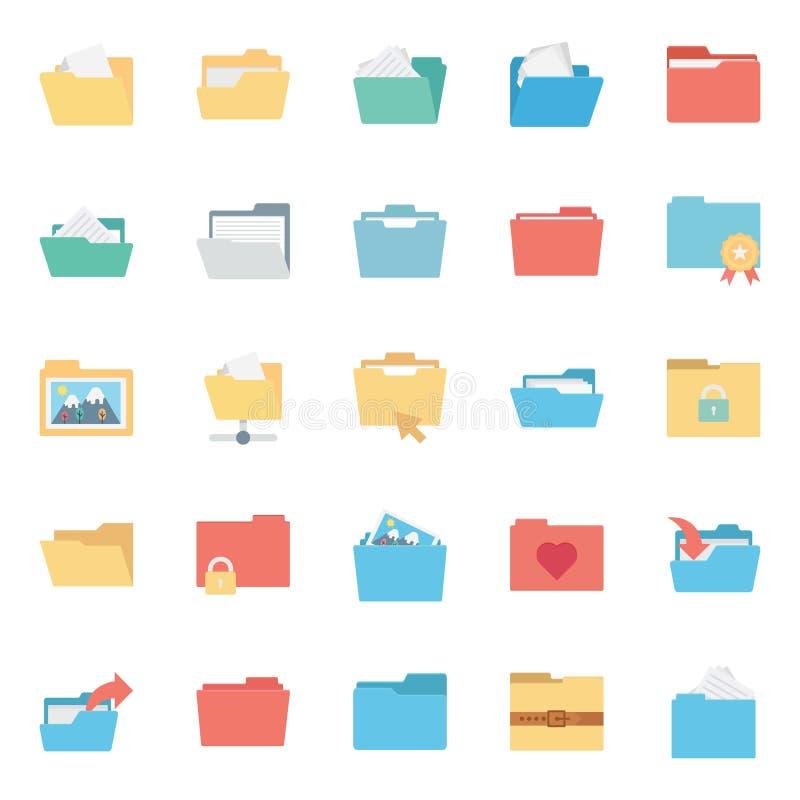 Gli archivi e la cartella hanno isolato le icone di vettore mettono ogni cartella o le icone degli archivi possono essere facilme royalty illustrazione gratis