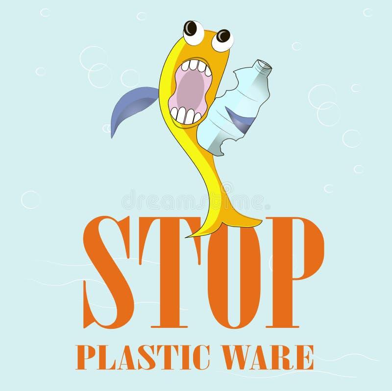 Gli articoli di plastica di arresto dell'insegna di tipografia, ingialliscono il pesce spaventato mangiano la bottiglia di plasti illustrazione di stock