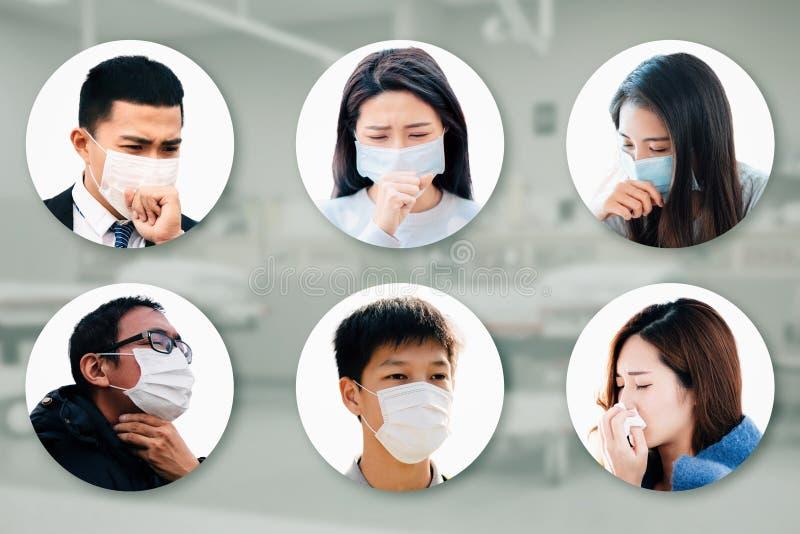 Gli asiatici soffrono di tosse con protezione dalla maschera fotografia stock