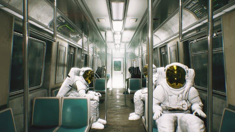 Gli astronauti vanno lavorare nel treno Fantasia cosmica astratta rappresentazione 3d royalty illustrazione gratis