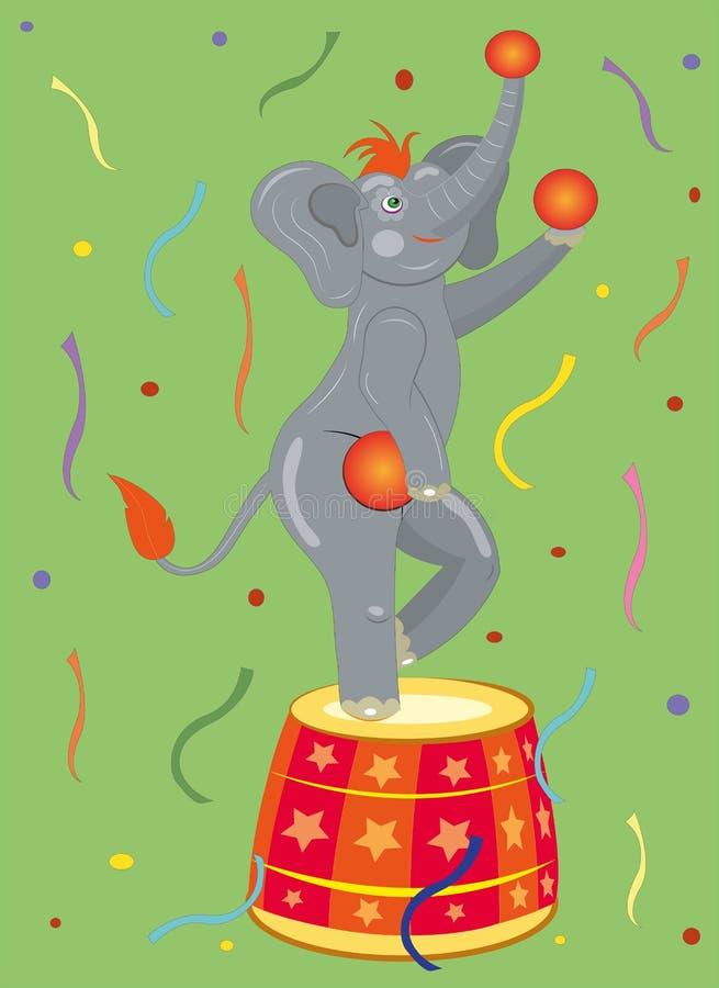 Gli atti dell'elefante del circo. illustrazione vettoriale