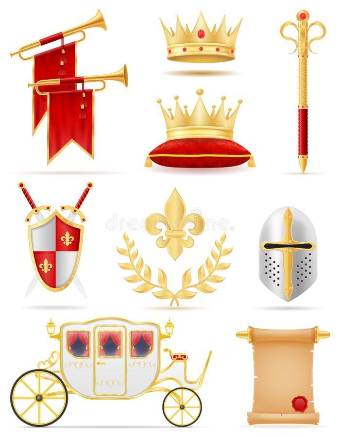 Gli attributi dorati reali di re di potere medievale vector il illustrati royalty illustrazione gratis