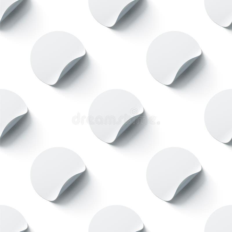 Gli autoadesivi adesivi rotondi bianchi in bianco deridono su con gli angoli piegati illustrazione di stock