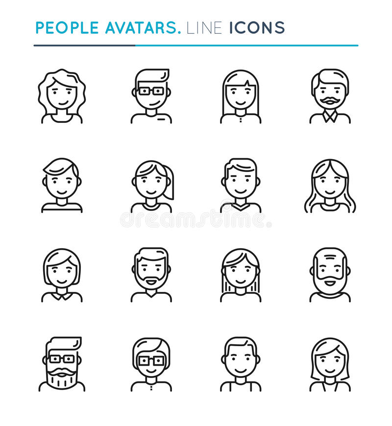 Gli avatar della gente assottigliano la linea insieme dell'icona Colpo editabile illustrazione vettoriale
