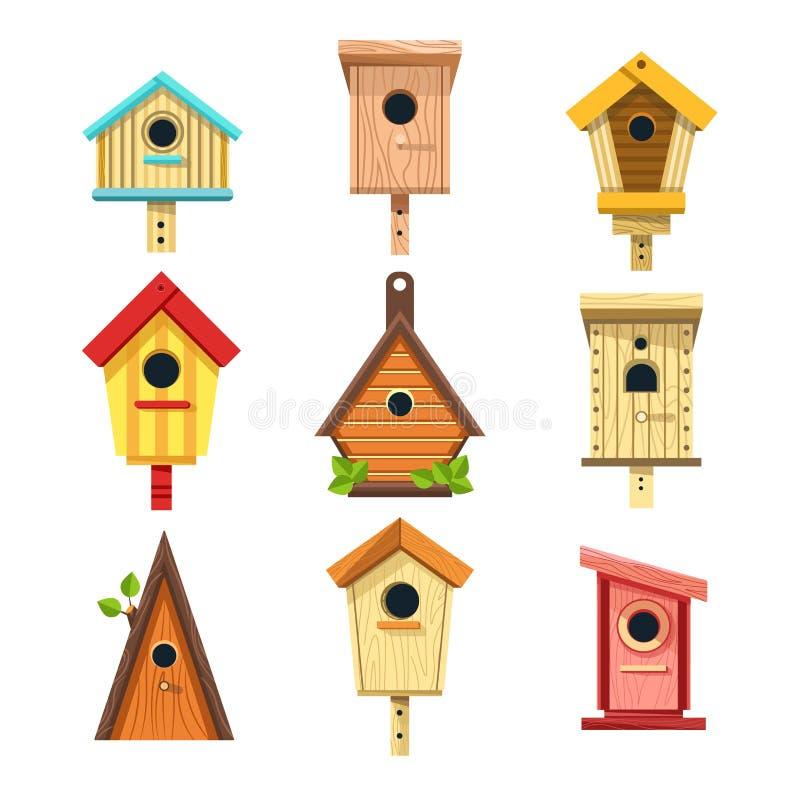 Gli aviari di legno hanno isolato le icone, nidi per deporre le uova per appendere sull'albero royalty illustrazione gratis