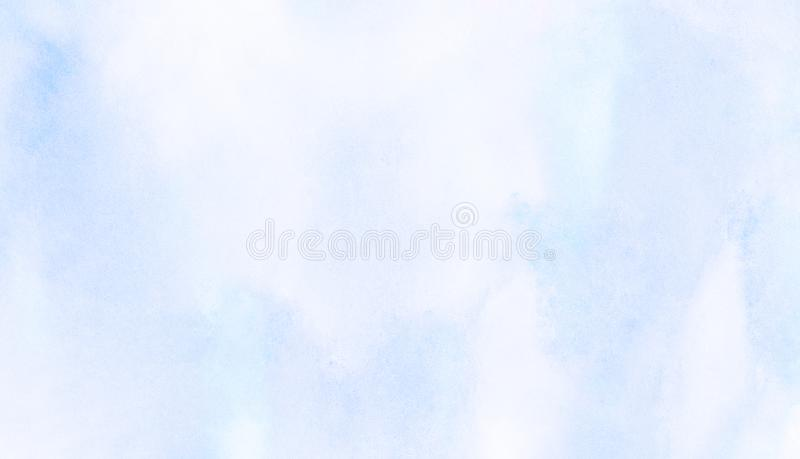 Gli azzurri colorano il fondo dell'acquerello della luce L'acquerello ha dipinto la tela strutturata di carta per progettazione d illustrazione di stock