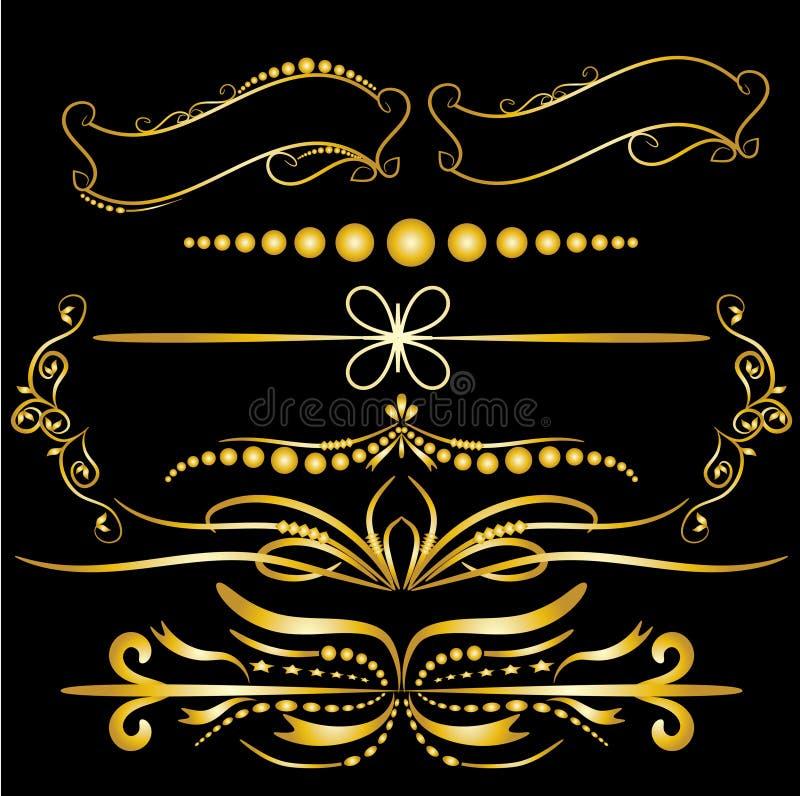 Gli elementi d'annata delle decorazioni dell'oro di colore fiorisce il fondo nero calligrafico delle pagine e degli ornamenti royalty illustrazione gratis