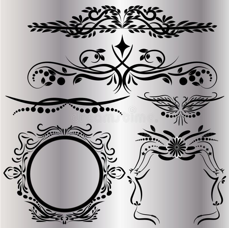 Gli elementi d'annata delle decorazioni fiorisce il fondo nero calligrafico delle pagine e degli ornamenti illustrazione vettoriale