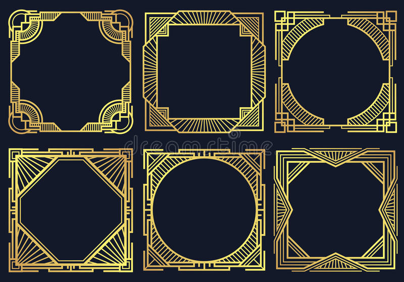 Gli elementi d'annata di progettazione di art deco, vecchio confine classico incornicia la raccolta di vettore illustrazione vettoriale