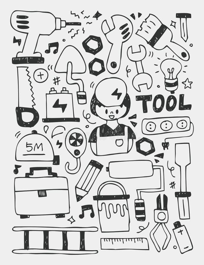 Gli elementi degli strumenti scarabocchia la linea disegnata a mano l'icona, eps10 illustrazione di stock
