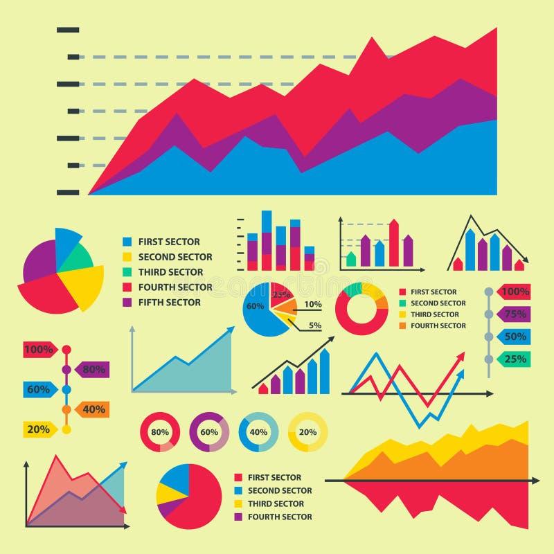 Gli elementi del grafico del grafico del diagramma vector il progresso infographic delle frecce e del cerchio del modello di dati illustrazione vettoriale