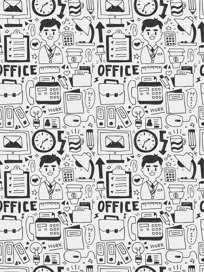 Gli elementi dell'ufficio scarabocchia la linea disegnata a mano l'icona, eps10 illustrazione di stock