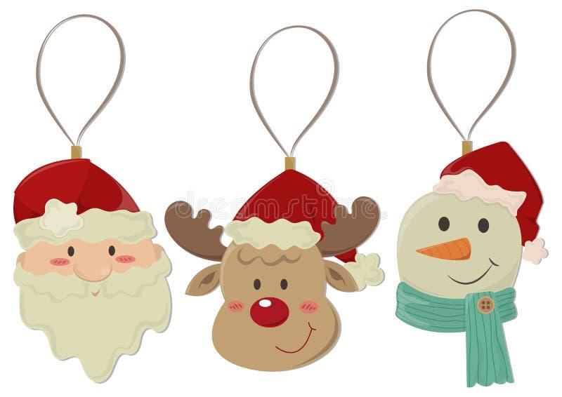 Gli elementi della decorazione di Natale hanno isolato illustrazione vettoriale