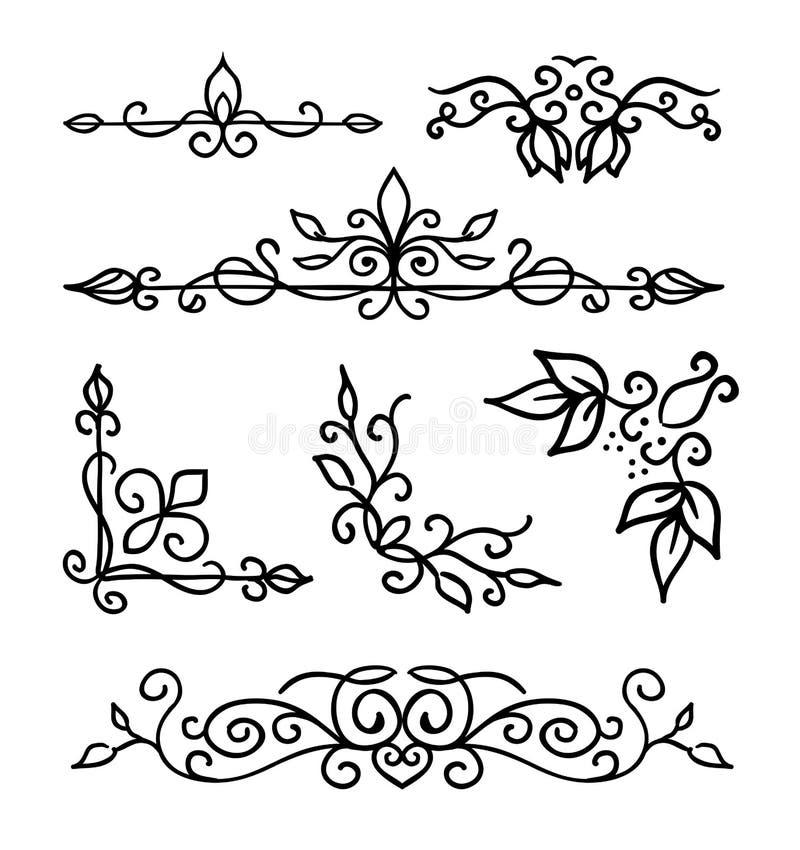 Gli elementi della decorazione, le strutture, il divisore della pagina ed il confine disegnati a mano vector l'illustrazione illustrazione di stock