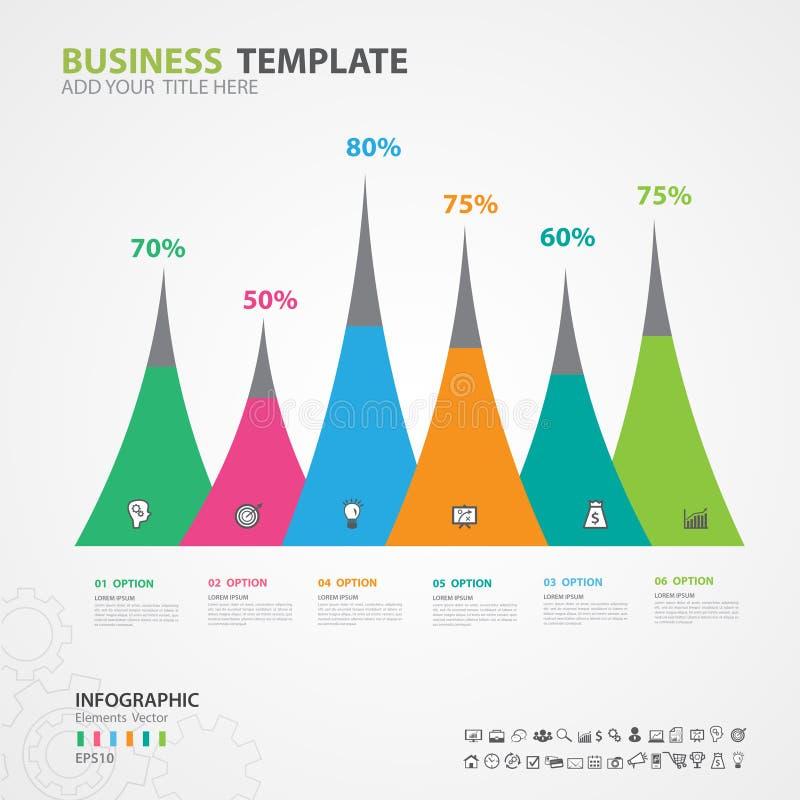 Gli elementi di Infographics diagram con 6 punti, le opzioni, lo scorrevole, la presentazione, il grafico, il grafico, il diagram royalty illustrazione gratis