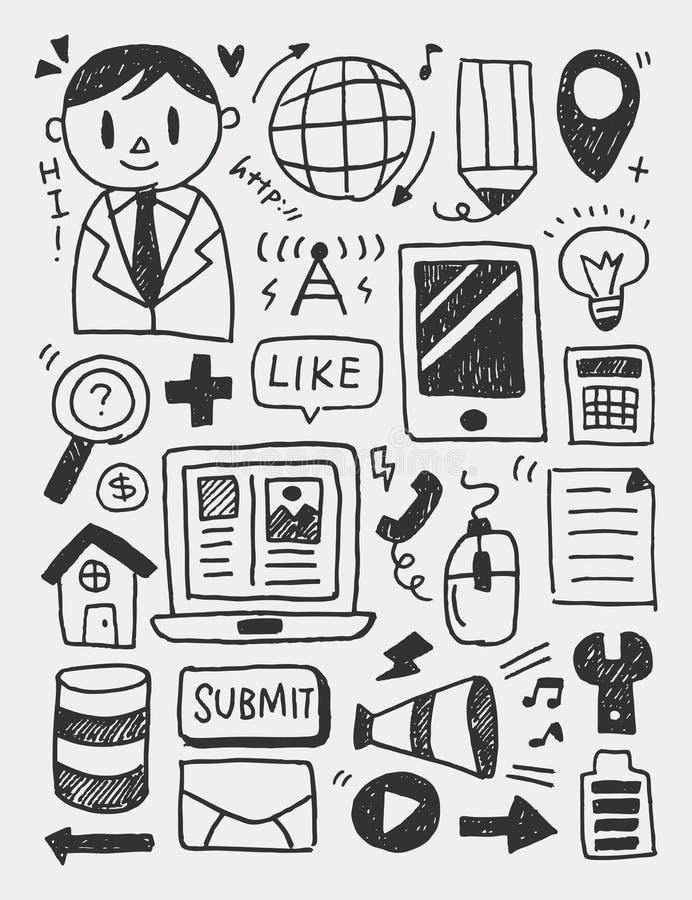 Gli elementi di istruzione scarabocchia la linea disegnata a mano l'icona, eps10 illustrazione di stock