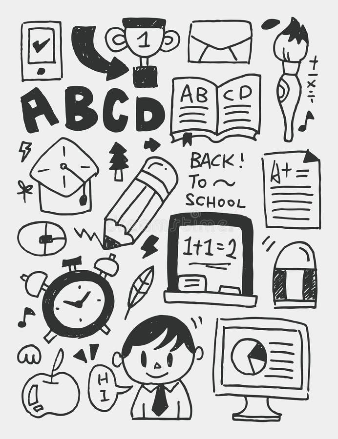 Gli elementi di istruzione scarabocchia la linea disegnata a mano l'icona, eps10 royalty illustrazione gratis