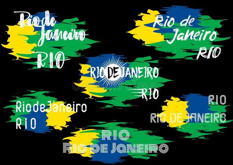 Gli elementi di tipografia progettano per l'etichetta brasiliana, il distintivo, il manifesto, l'insegna, la carta con un nome Ri illustrazione di stock