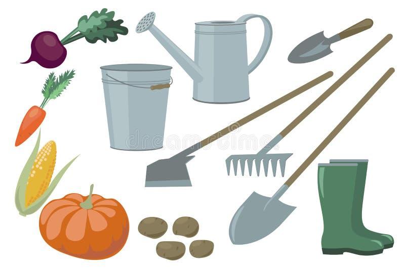 Gli elementi e le verdure stabiliti degli oggetti di inventario del giardino dell'azienda agricola raccolgono il rendimento Secch illustrazione vettoriale