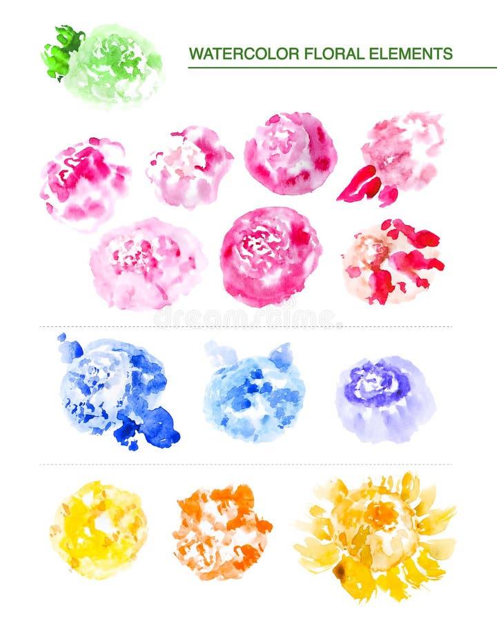 Gli elementi floreali disegnati a mano dell'acquerello, i punti artistici di colore, pittura cade su fondo bianco illustrazione vettoriale