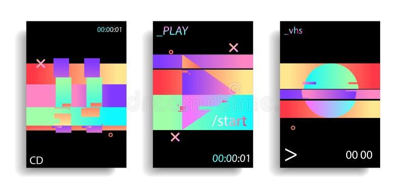 Gli elementi glitched tremuli olografici giocano, circondano, tasto pausa Effetto di impulso errato VHS retro Vaporwave Stile del illustrazione vettoriale