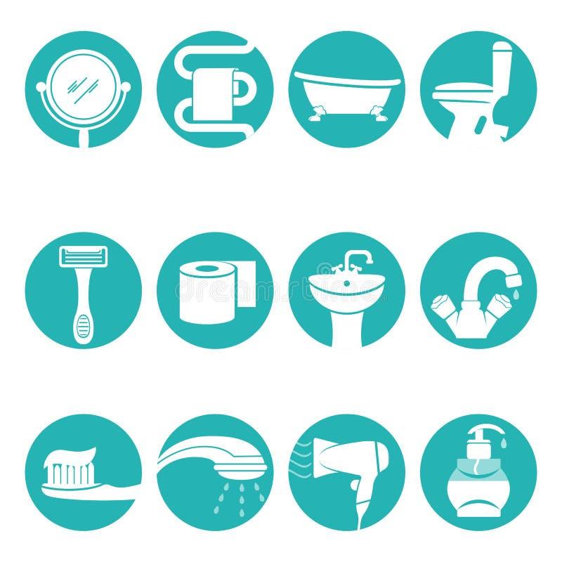 Gli elementi necessari del bagno nel logo rotondo firma il manifesto di vettore illustrazione vettoriale
