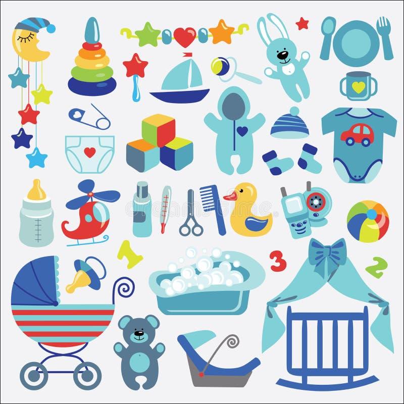 Gli elementi neonati del bambino-boyl hanno messo la raccolta Acquazzone di bambino royalty illustrazione gratis