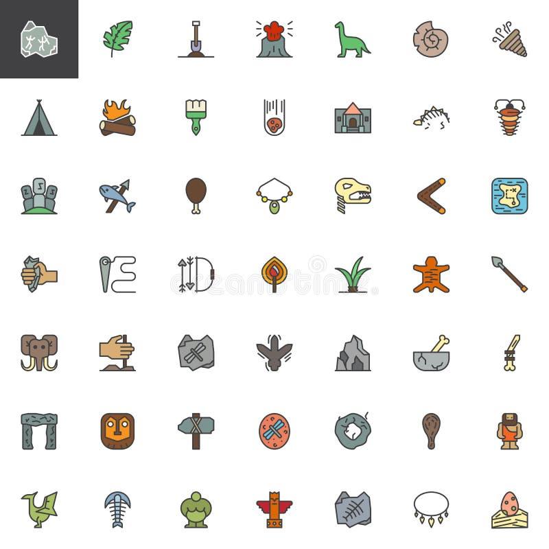 Gli elementi preistorici hanno riempito le icone del profilo messe illustrazione di stock