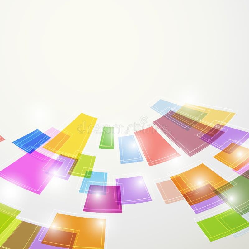 Gli elementi quadrati astratti variopinti luminosi volano illustrazione vettoriale