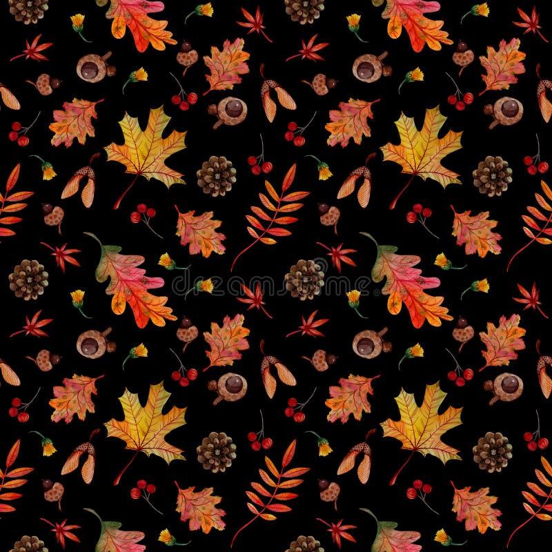 Gli elementi senza cuciture di autunno del modello lascia le ghiande dei coni su fondo nero illustrazione di stock