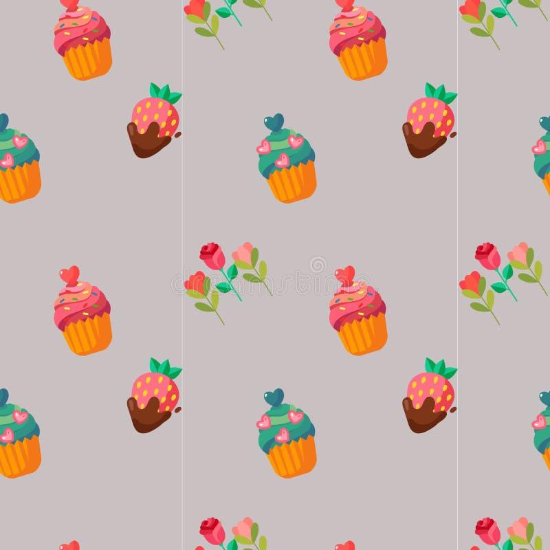 Gli elementi svegli del biglietto di S. Valentino agglutinano i dolci ed il modello di fiore royalty illustrazione gratis