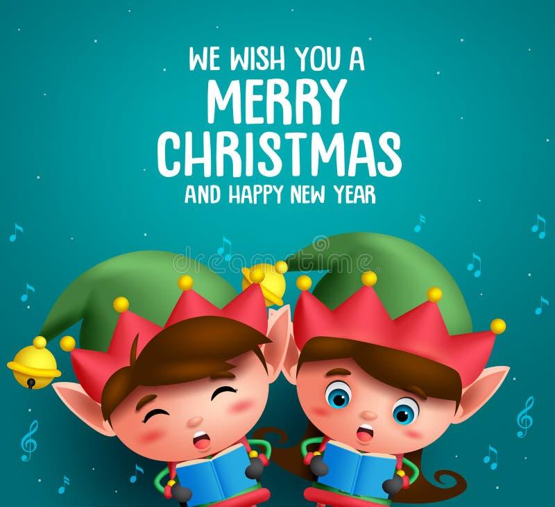 Gli elfi di Natale vector i caratteri che cantano il canto natalizio di natale nel fondo blu illustrazione vettoriale