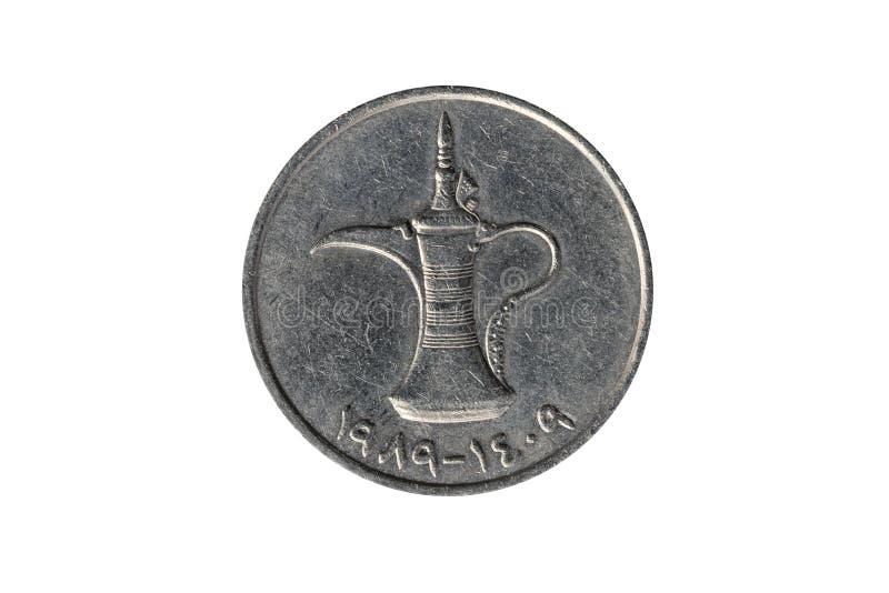 Gli Emirati Arabi Uniti caffettiera araba di Dallah della moneta da 1 dirham fotografie stock
