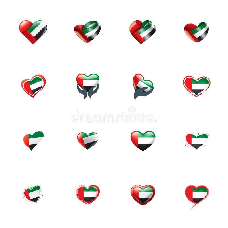 Gli Emirati Arabi Uniti inbandierano, vector l'illustrazione su un fondo bianco illustrazione di stock