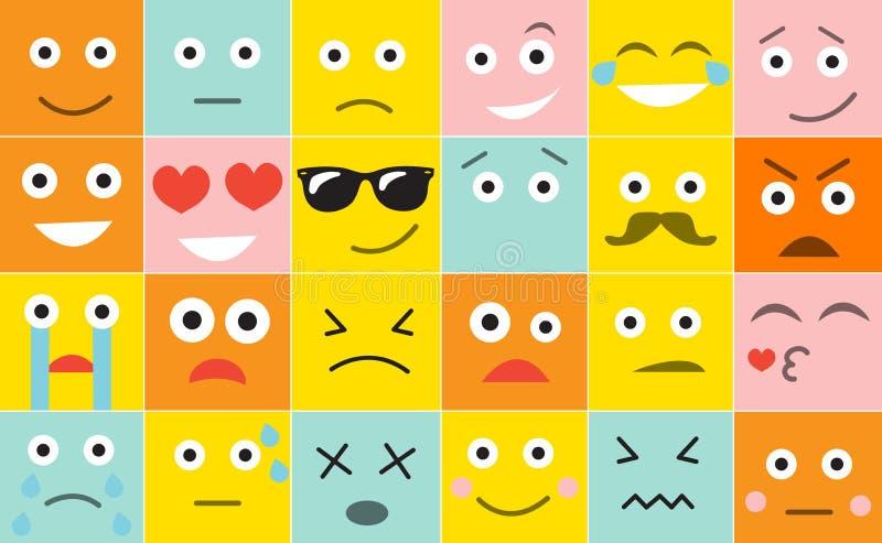 Gli emoticon della squadra a triangolo con differenti emozioni, illustrazione di vettore royalty illustrazione gratis