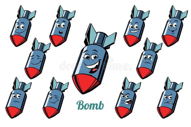 Gli emoticon di emozioni della bomba degli aerei hanno messo su backgroun bianco royalty illustrazione gratis