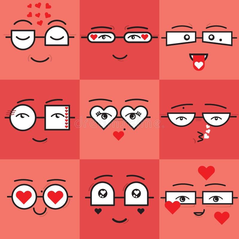 Gli emoticon svegli dei biglietti di S. Valentino degli autoadesivi del quadrato rosso e del corallo affronta l'insieme delle ico royalty illustrazione gratis