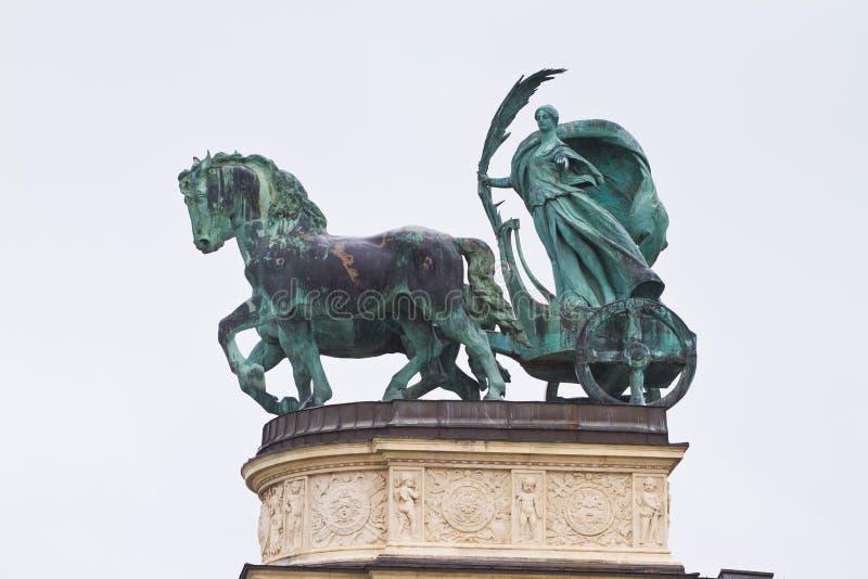 Gli eroi quadrano di Hosok, complesso della statua da Zala Gyorgy, statua femminile di pace in biga ed in cavalli, foglia di palm immagine stock libera da diritti