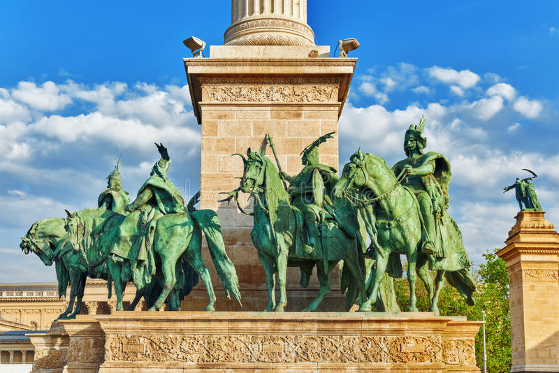 Gli eroi Quadrato-è uno dei quadrati principali a Budapest, Ungheria, fotografia stock libera da diritti