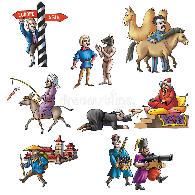 Gli esploratori celebrati in Asia_3 royalty illustrazione gratis